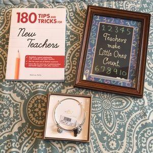 Teacher bracelet, book and frame bundle.